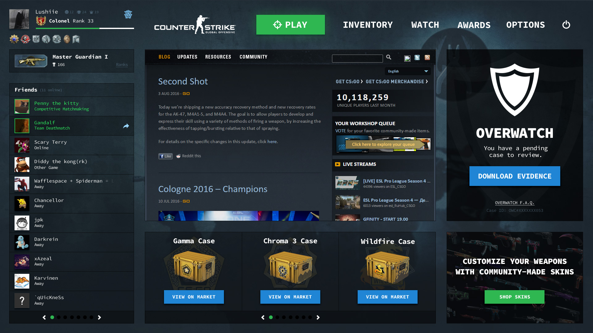 Counter Strike: Global Offensive Redesigned Interface