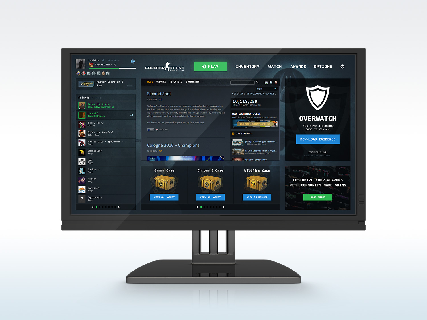 Counter Strike Global Offensive User Interface Mockup