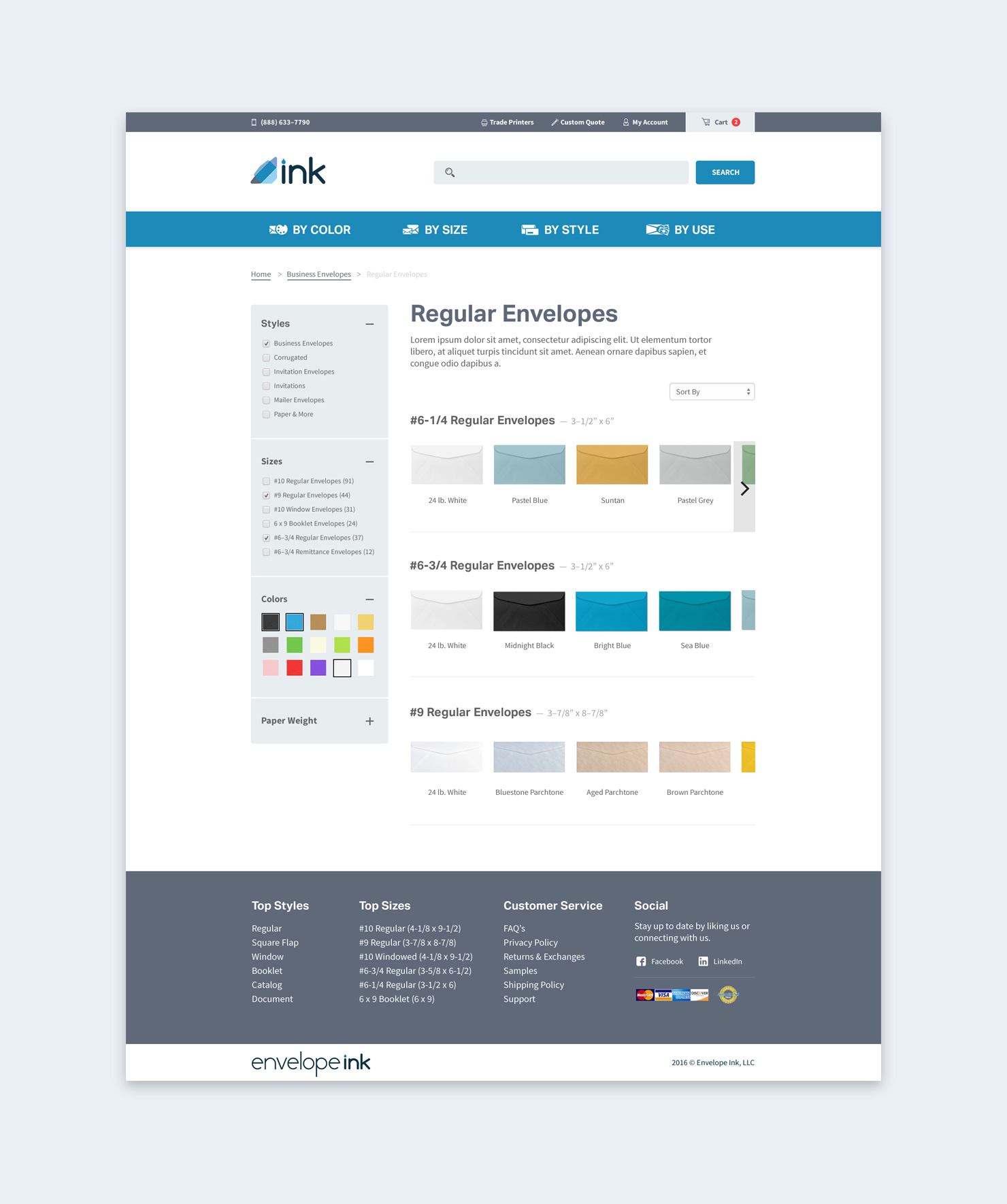 Envelope Ink Product Listing Page Design