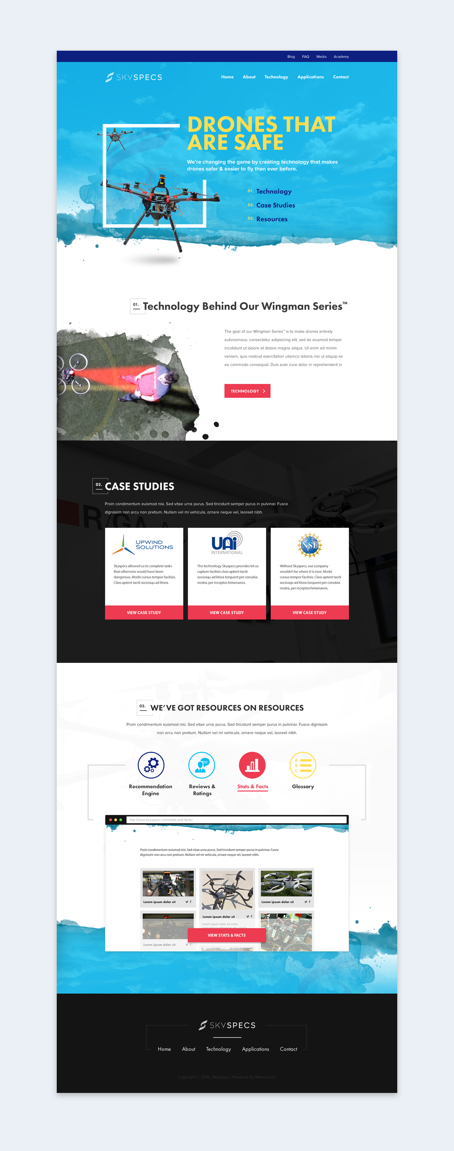Skyspecs Home Page Design